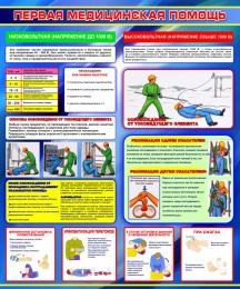 Купить Стенд Первая медицинская помощь в синих тонах 1000*1200мм в Беларуси от 138.00 BYN