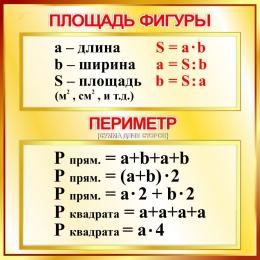 Купить Стенд Площадь фигуры, периметр  для начальной школы в золотистых тонах 550*550мм в Беларуси от 33.00 BYN