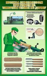 Купить Стенд Правила безопасности при работе на токарном станке по дереву в зеленых тонах 500*800мм в Беларуси от 46.00 BYN