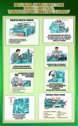 Купить Стенд Правила безопасности при работе на токарном станке по металлу в зеленых тонах 500*800мм в Беларуси от 44.00 BYN