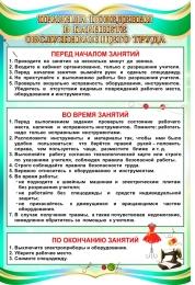 Купить Стенд Правила поведения в кабинете обслуживающего труда в бирюзовых тонах 400*600 мм в Беларуси от 27.00 BYN