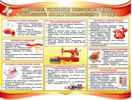 Купить Стенд Правила техники безопасности в кабинете обслуживающего труда в золотисто-красных тонах 900*700 мм в Беларуси от 72.00 BYN