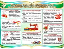 Купить Стенд Правила техники безопасности в кабинете обслуживающего труда в бирюзовых тонах 900*700 мм в Беларуси от 72.00 BYN