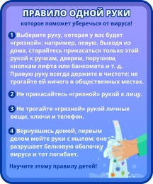 Купить Стенд Правило одной руки, которое поможет уберечься от вируса в фиолетовых тонах 200*240 мм в Беларуси от 6.00 BYN