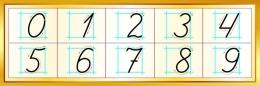 Купить Стенд Правописание цифр в золотистых тонах 600*200 мм в Беларуси от 13.00 BYN