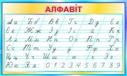 Купить Стенд прописной Алфавiт по Клышке в бирюзовых тонах на белорусском языке 700*420мм в Беларуси от 32.00 BYN