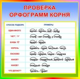 Купить Стенд Проверка орфограмм корня в радужных тонах 550*550мм в Беларуси от 33.00 BYN