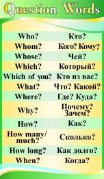 Купить Стенд Question Words в кабинет английского языка в в золотисто-зелёных тонах 850*500 мм в Беларуси от 49.00 BYN