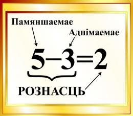 Купить Стенд Рознасць на белорусском языке для начальной школы в золотистых тонах 400*350мм в Беларуси от 16.00 BYN