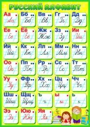 Купить Стенд Русский алфавит для начальной школы в салатовых тонах 500*700мм в Беларуси от 42.00 BYN