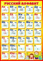 Купить Стенд Русский алфавит для начальной школы в жёлто-красных тонах 500*700мм в Беларуси от 40.00 BYN
