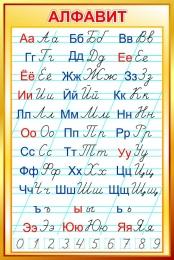 Купить Стенд Русский алфавит прописной и строчной в золотистых тонах 670*1000 мм в Беларуси от 73.00 BYN
