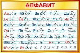 Купить Стенд Русский прописной Алфавит по Тириновой в золотистых тонах 1000*670мм в Беларуси от 76.00 BYN