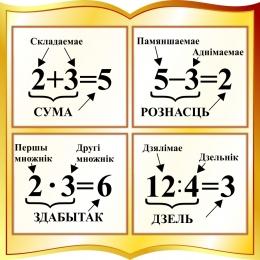 Купить Стенд с названиями компонентов сумы, рознасцi, здабытка, дзелi на белорусском языке в золотистых тонах 550*550мм в Беларуси от 36.00 BYN