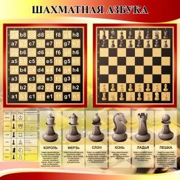 Купить Стенд Шахматная азбука в секцию по шахматам в золотисто-красных тонах 800*800 мм в Беларуси от 70.00 BYN