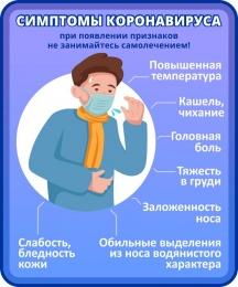 Купить Стенд Симптомы Коронавируса в фиолетовых тонах 200*240 мм в Беларуси от 6.00 BYN
