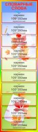 Купить Стенд Словарные слова в зелено-голубых тонах 380*1320 мм в Беларуси от 72.00 BYN