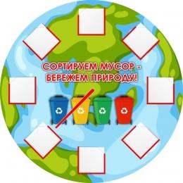 Купить Стенд Сортируем мусор-бережем природу! 500*500 мм в Беларуси от 97.00 BYN