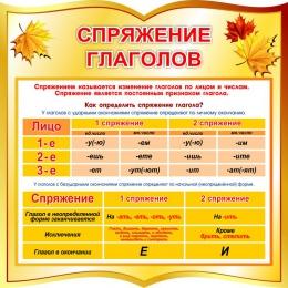 Купить Стенд спряжение глаголов в стиле осень 550*550 мм в Беларуси от 37.00 BYN