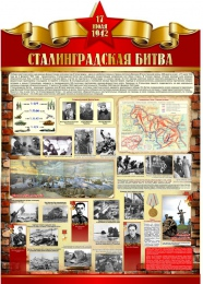 Купить Стенд Сталинградская битва на тему  ВОВ размер 790*1100мм без карманов в Беларуси от 99.00 BYN