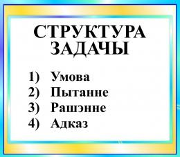 Купить Стенд Структура задачы в бирюзовых тонах на белорусском языке 400*350мм в Беларуси от 16.00 BYN
