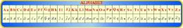 Купить Стенд Таблица Алфавит  для кабинета французского языка в сине-голубых тонах 1950*300мм в Беларуси от 64.00 BYN