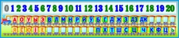 Купить Стенд Таблiца галосныя зычныя лiтары i цыфры для начальной школы Паровозик 1650*350мм в Беларуси от 63.00 BYN