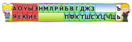 Купить Стенд Таблица гласные и согласные со звоночками и наушниками для кабинета начальной школы в радужных тонах 1370*210 мм в Беларуси от 33.00 BYN