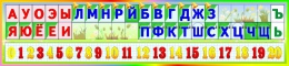 Купить Стенд таблица гласные согласные и цифры в радужных тонах 1500*350мм в Беларуси от 60.00 BYN