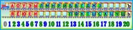 Купить Стенд таблица гласных, согласных  и цифр Паравозик с обозначением звонкости глухости 1500*350 мм в Беларуси от 57.00 BYN
