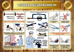 Купить Стенд Техника безопасности в кабинет трудового обучения в коричневом стиле 1000*700мм в Беларуси от 81.00 BYN