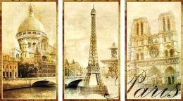 Купить Стенд триптих Достопримечательности Парижа Ретро для кабинета французского языка 1150*650мм в Беларуси от 79.00 BYN