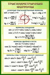 Купить Стенд Трыганаметрычныя формулы в золотисто-зелёных тонах  630*940 мм в Беларуси от 65.00 BYN