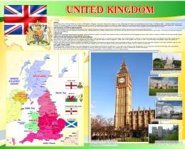 Купить Стенд UNITED KINGDOM на английском языке в золотисто-желтых с зеленым тонах 1000*1250 мм в Беларуси от 144.00 BYN