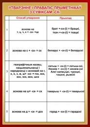 Купить Стенд Утварэнне i правапiс прыметнiкаў з суфiксам-ск- на белорусском языке 500*700мм в Беларуси от 40.00 BYN