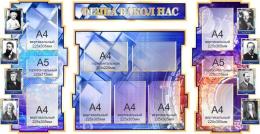 Купить Стенд в кабинет Физики Фiзiка вакол нас на белорусском языке в золотисто-синих тонах 1800*955мм в Беларуси от 225.30 BYN