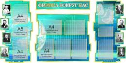 Купить Стенд в кабинет Физики Физика вокруг нас в бирюзово-синих тонах 1800*995мм в Беларуси от 237.30 BYN