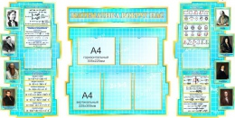 Купить Стенд в кабинет Математики Математика вокруг нас с формулами в голубых тонах 1890*960мм в Беларуси от 224.30 BYN