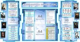 Купить Стенд в кабинет Математики Математика вокруг нас с формулами в синих тонах 1825*955 мм в Беларуси от 232.00 BYN