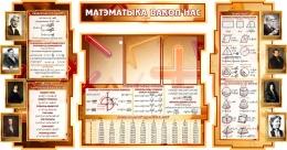 Купить Стенд в кабинет Математики Матэматыка вакол нас на белорусском языке с формулами в золотисто-коричневых тонах 1800*995мм в Беларуси от 207.50 BYN