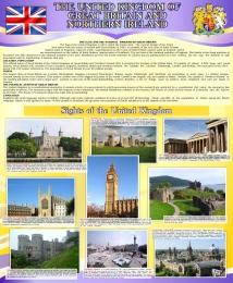 Купить Стенд Великобритания  для кабинета английского языка в фиолетовых тонах 700*850мм в Беларуси от 65.00 BYN