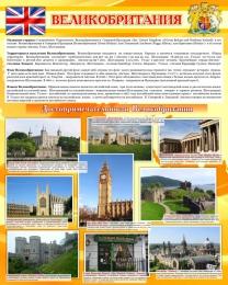 Купить Стенд Великобритания в кабинет английского языка 700*850 мм в золотистых тонах в Беларуси от 68.00 BYN