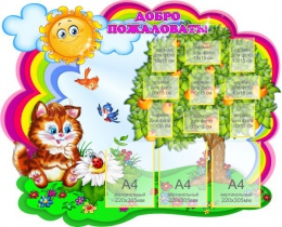 Купить Стенд-визитка для детского сада Добро пожаловать для группы Котята 1300*1040 мм в Беларуси от 169.50 BYN