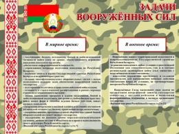 Купить Стенд Задачи Вооруженных Сил Республики Беларусь 800*600 мм в Беларуси от 52.00 BYN