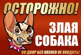 Купить Табличка 2 Осторожно! Злая собака 220х150мм в Беларуси от 4.00 BYN