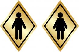 Купить Табличка на туалет в золотистых тонах 100*140 мм в Беларуси от 2.00 BYN