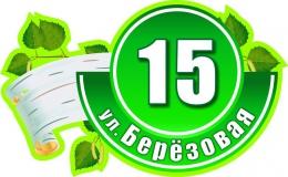 Купить Табличка Номер дома и название улицы с веткой берёзы 620х380 в Беларуси от 27.00 BYN