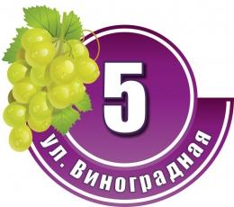 Купить Табличка Номер дома и название улицы в фиолетовых тонах с зеленым виноградом 440х380 мм в Беларуси от 20.00 BYN