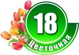 Купить Табличка Номер дома и название улицы в зеленых тонах с тюльпанами 530х380 в Беларуси от 24.00 BYN