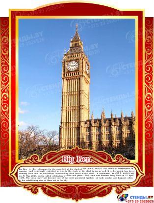 Комплект стендов Достопримечательности Великобритании для кабинета английского языка в золотисто-красных тонах 265*350 мм,280*350 мм Изображение #8